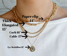 Load image into Gallery viewer, Thin Rectangle Link Chain Choker, Gold Filled Paper Clip Chain Necklace, Layering Gold Chain Necklace