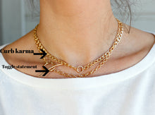 Load image into Gallery viewer, Thick Gold Filled Curb Chain Karma Open Circle Necklace