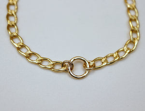 Thick Gold Filled Curb Chain Karma Open Circle Necklace
