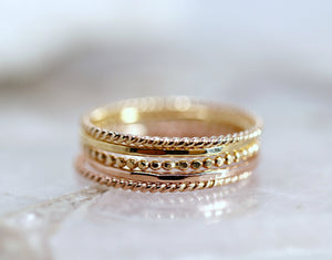 14k Solid Gold Twisted Ring, Gold Stackable Ring, Midi Ring