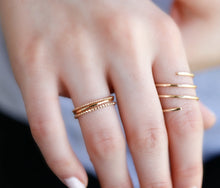 Load image into Gallery viewer, Solid Gold Hammered Dainty Thin Ring
