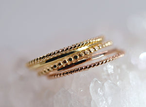 Solid Gold Hammered Dainty Thin Ring