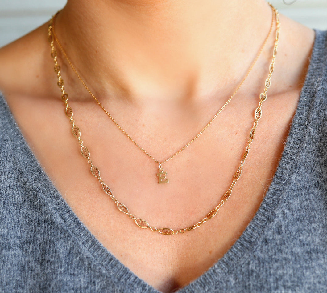 Gold Filigree Chain Necklace, Gold Filled Lace Necklace