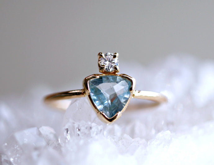 Trillion Cut Aquamarine and Diamond Ring in 14k White Gold or Yellow Gold