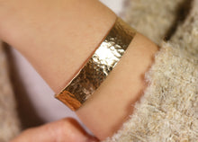 Load image into Gallery viewer, Wide Hammered Gold Cuff Bracelet Personalized