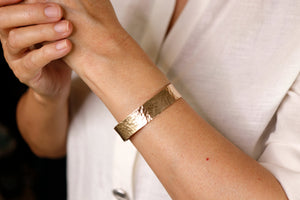 Wide Hammered Gold Cuff Bracelet Personalized