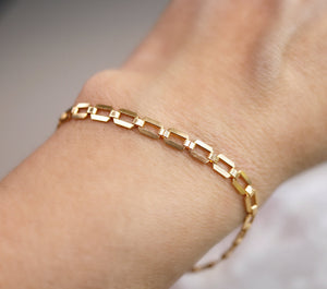 Gold Filled Chunky Rectangle Chain Bracelet