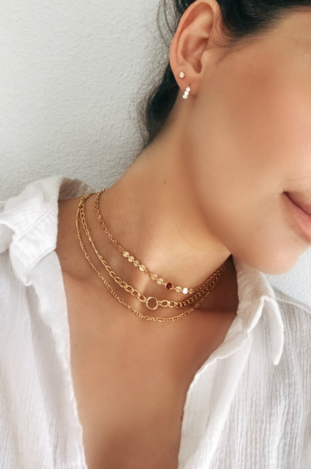 Gold Dainty Figaro Chain Choker Necklace