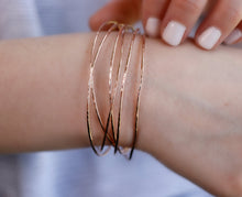 Load image into Gallery viewer, Rose Gold Hammered Open Cuff Bracelet
