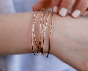 Rose Gold Hammered Open Cuff Bracelet