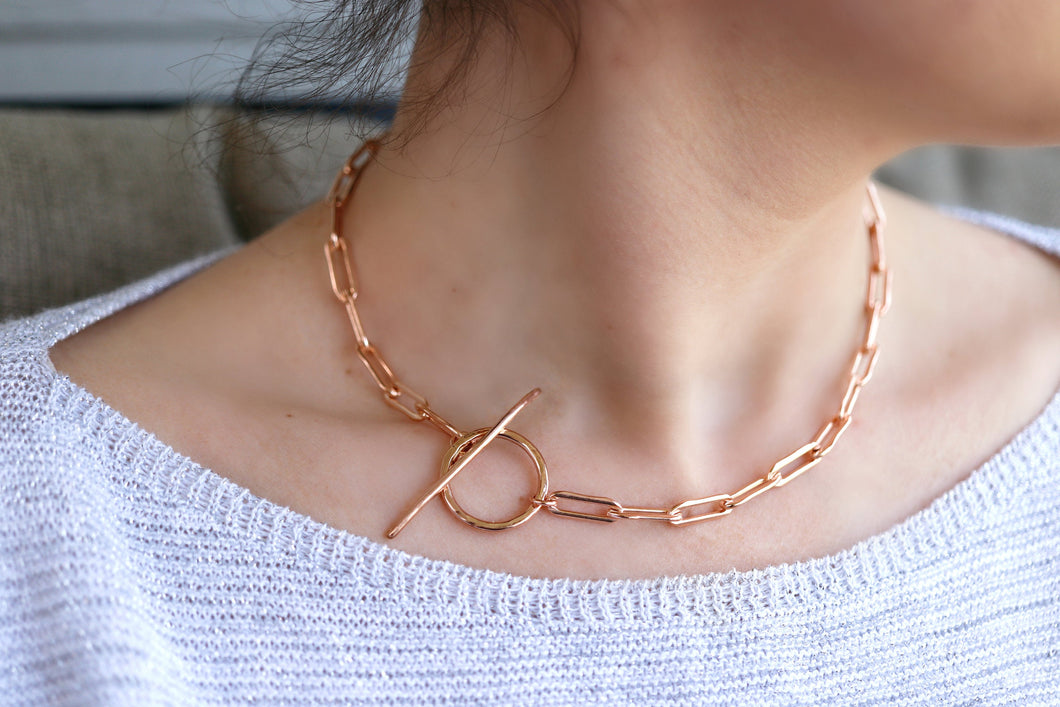 Rose Gold Toggle Necklace with Thick Elongated Rectangle Rose Gold Filled Chain