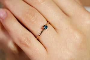 14k Gold Dainty Blue Diamond Ring, Minimalist Blue Diamond Engagement Ring