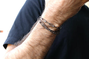 Boyfriend Chain Bracelet, Black Oxidized Silver Chain Bracelet For Men
