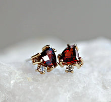 Load image into Gallery viewer, Triangle Garnet Stud Earrings with Diamonds