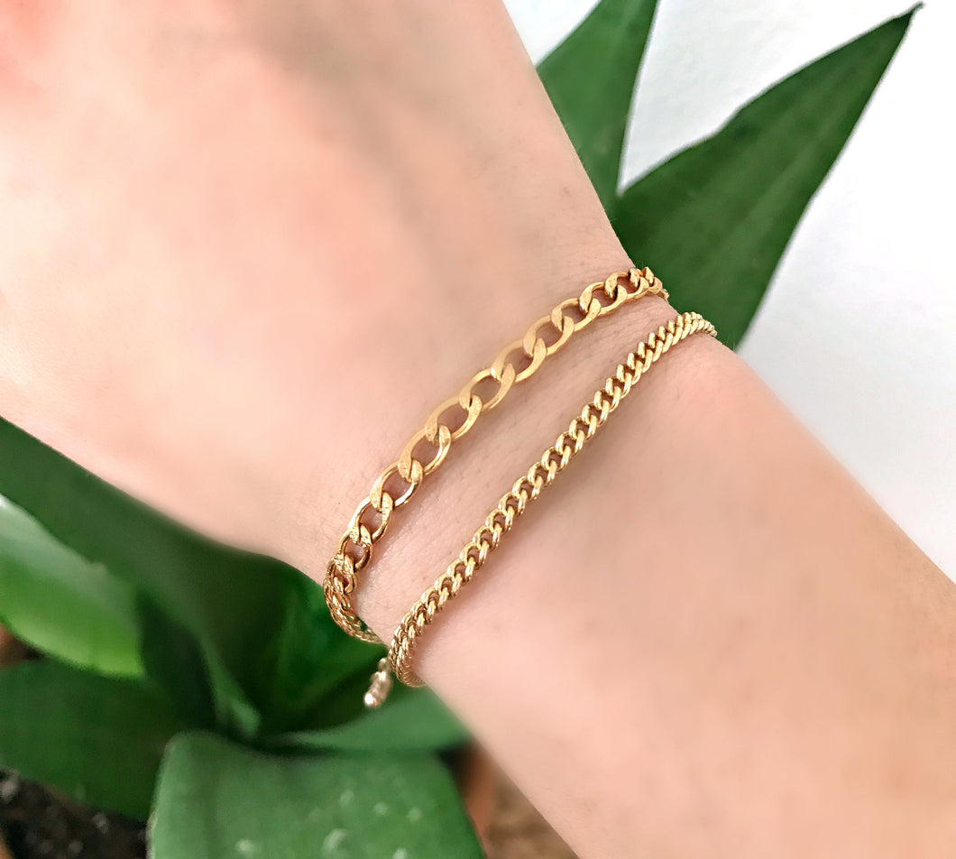 Thick Curb Chain Bracelet, Gold Filled  or Sterling Silver