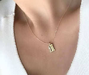 14k Solid Gold Old English Initial Necklace