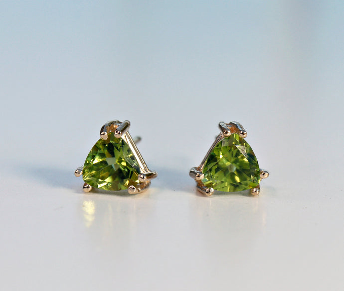 14k Gold Trillion Peridot Stud Earrings