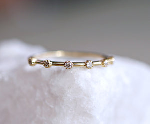 14k Solid Gold 6 Diamond Band Ring