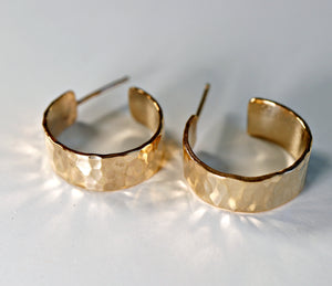 Chunky Gold Hoops, Hammered Gold Thick Hoop Earrings