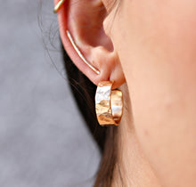 Load image into Gallery viewer, Chunky Gold Hoops, Hammered Gold Thick Hoop Earrings