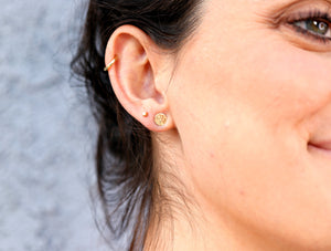 Hammered Gold Stud Earrings, 14k Solid Gold Disc Earrings
