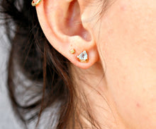 Load image into Gallery viewer, Trillion Blue Topaz Earrings 14k Gold