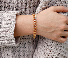 Load image into Gallery viewer, 7.5mm Thick Gold Filled Curb Chain Bracelet