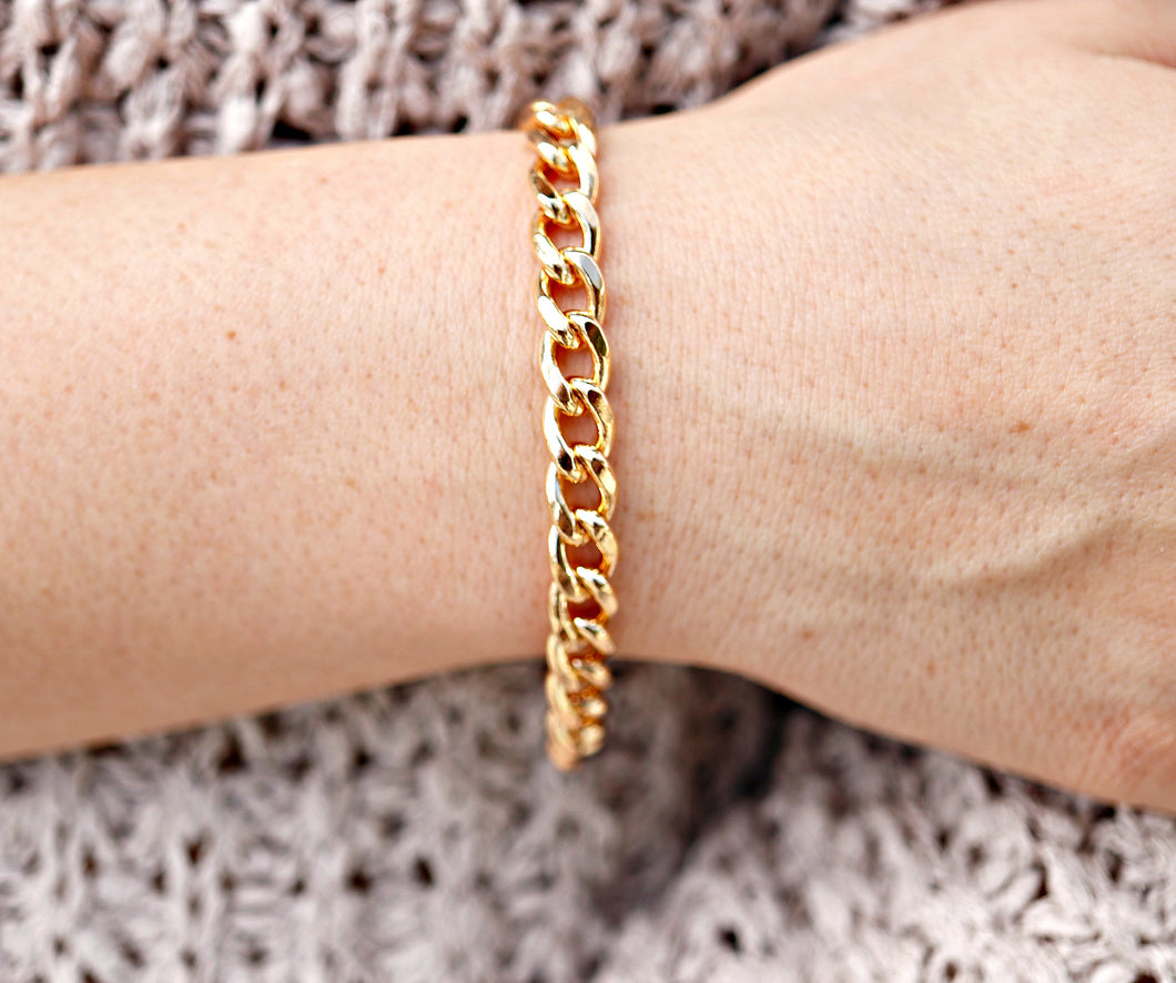 7.5mm Thick Gold Filled Curb Chain Bracelet