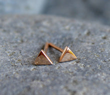 Load image into Gallery viewer, Triangle Stud Earrings, 14k Solid Rose Gold Minimal Earrings