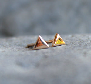 14k Solid Rose Gold Triangle Stud Earrings