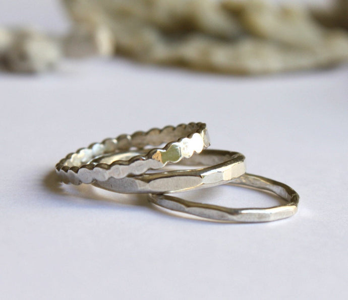 Stacking Rings: Dots, Hammered and Textured Rings (set of 3)