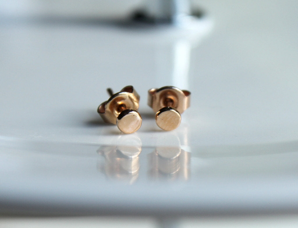 14k Solid Rose Gold Dainty Geometric Round Stud Earrings