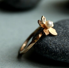 Load image into Gallery viewer, Rose Gold Pearl Ring,  Cherry Blossom Sakura Ring