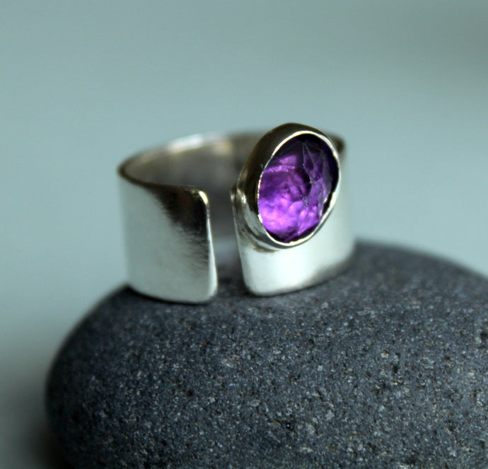 Sterling Silver Amethyst Ring, February Birthday Gift