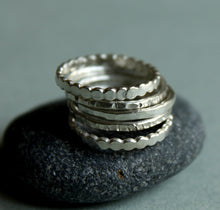 Load image into Gallery viewer, Stackable Ring Set of Five, Hammered and Textured Silver Rings,  Simple Skinny Stacking Ring Set