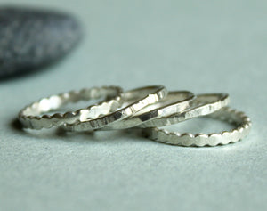 Stackable Ring Set of Five, Hammered and Textured Silver Rings,  Simple Skinny Stacking Ring Set