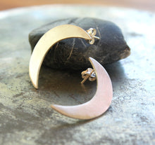 Load image into Gallery viewer, Sterling Silver Crescent Moon Earrings, Moon Goddess Earrings