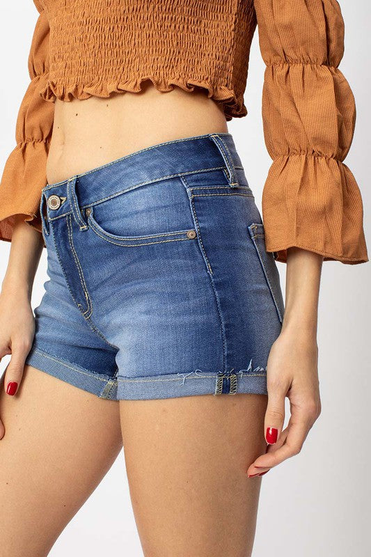Kancan Mid Rise Medium Denim Shorts
