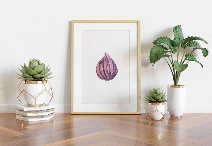 kitchen art, watercolor art for kitchens, watercolor art, fig watercolor art print, fig wall art, fig art print, art with fig design, I love figs, purple figs, juicy fig painting