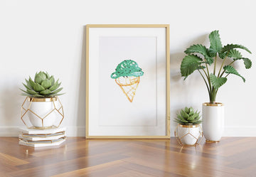 little girls wall art, ice cream cone art print, mint chocolate ice cream wall art, watercolor ice cream cone art print, home decor for little girls, office art, bedroom art for females