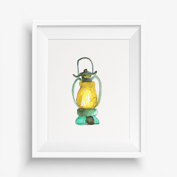 Gas Lantern wall decor, New Orleans inspired wall decor, southern wall art, lantern wall art print, watercolor lantern art,