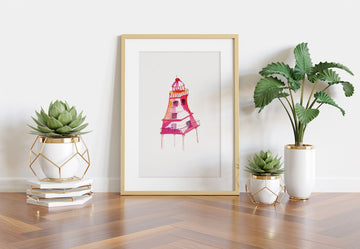 Pink Lighthouse Art, Lighthouse art print, lighthouse watercolor art print, home decor