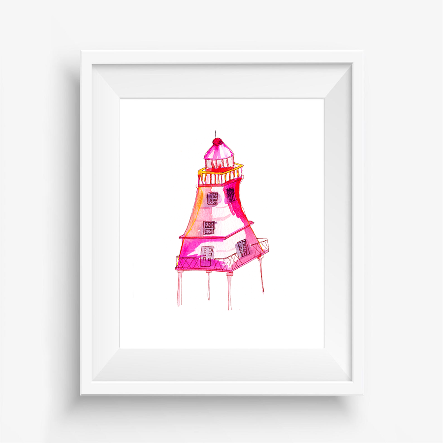 Pink Lighthouse Art, Lighthouse art print, lighthouse watercolor art print, home decor, New Orleans lighthouse, New Orleans lighthouse painting, colorful lighthouse painting, watercolor lighthouse painting, pink watercolor lighthouse painting, pink lighthouse artwork
