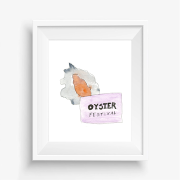 Oyster festival New Orleans, oyster fest New Orleans, oyster fest, oyster illustration, oyster festival art, oyster watercolor painting, oyster watercolor illustration, New Orleans artwork