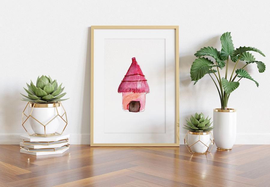 pink hut art print, watercolor art, hut art print, little girls art, young adult art, wall decor