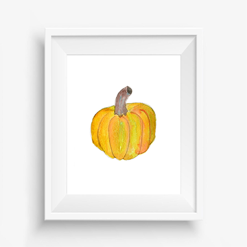 pumpkin art print, playful art print, watercolor art print, archival art print