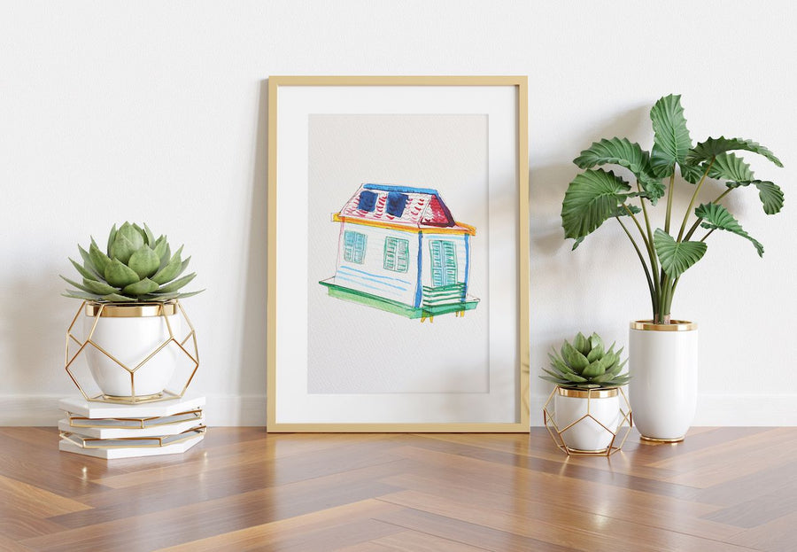 wall art, watercolor prints, shotgun house art, house art, giclee art print, house warming gift, new home gifts, first home gifts, art for homeowners