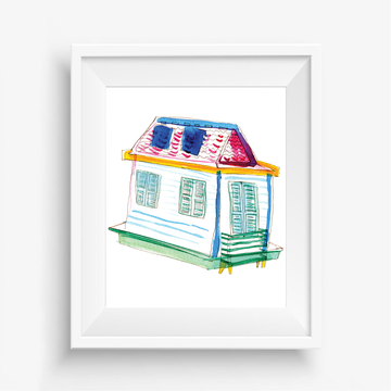 wall art, watercolor prints, shotgun house art, house art, giclee art print, house warming gift, new home gifts, first home gifts, art for homeowners, New Orleans houses, swamp house, Arcadian home New Orleans, victorian home New Orleans, New Orleans architecture paintings, New Orleans house painting,