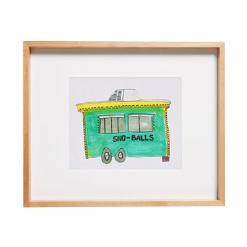 snowball stand, New Orleans wall art, snowball stand watercolor art, snow cone, green house art, home decor for walls