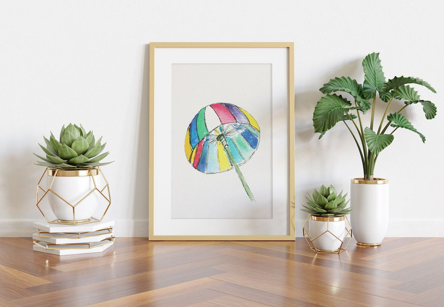 summer wall decor, umbrella wall art, umbrella art print, watercolor art, beach umbrella wall art, art for kids rooms, art for office, playful wall art, colorful wall art, colorful wall decor